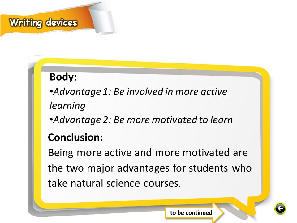 Writing devices Body: Advantage 1: Be involved in more active learning. Advantage 2: Be more motivated to learn.