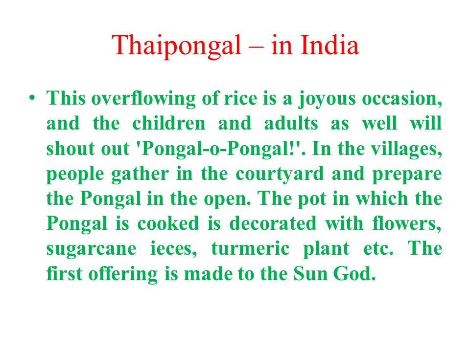 Thaipongal – in India