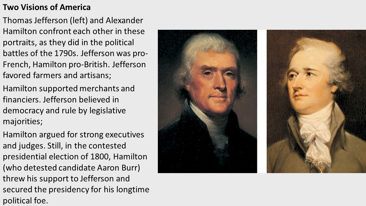 thomas jefferson and alexander hamilton The answer is much more complicated than that at first they had an amicable relationship but as members of washington's cabinet became mortal enemies after hamilton intervened to break the deadlock between jefferson and.