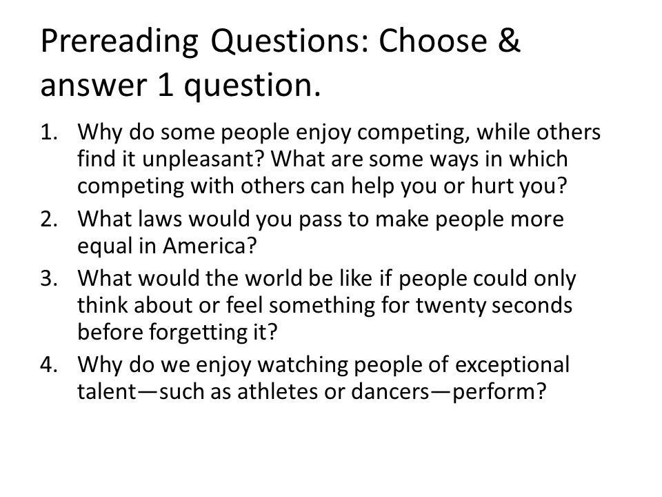 harrison bergeron by kurt vonnegut jr ppt video online  prereading questions choose answer 1 question