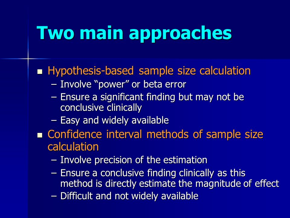 hypothesis sample size alpha The power of a binary hypothesis test is the probability that the test correctly  rejects the null  power analysis can be used to calculate the minimum sample  size required so that one can be reasonably likely to detect an effect of a given  size  power (alpha = 005, two-tail) to reject the null hypothesis of zero  correlation.