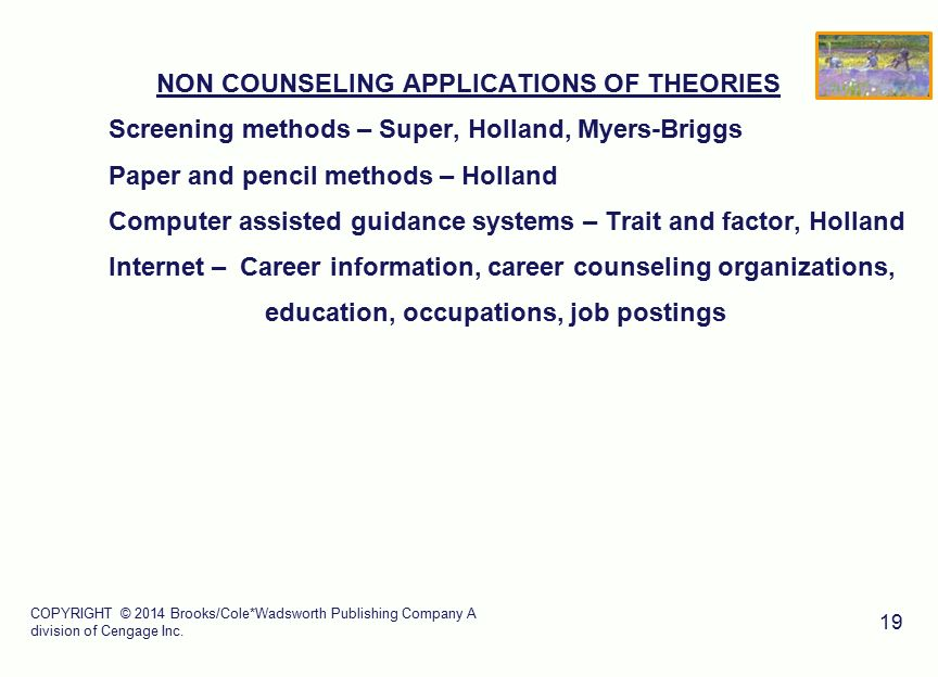 holland theory and application Careers are determined by an interaction between our personality and the environment in john holland's theory of career choice we want jobs with people like us.