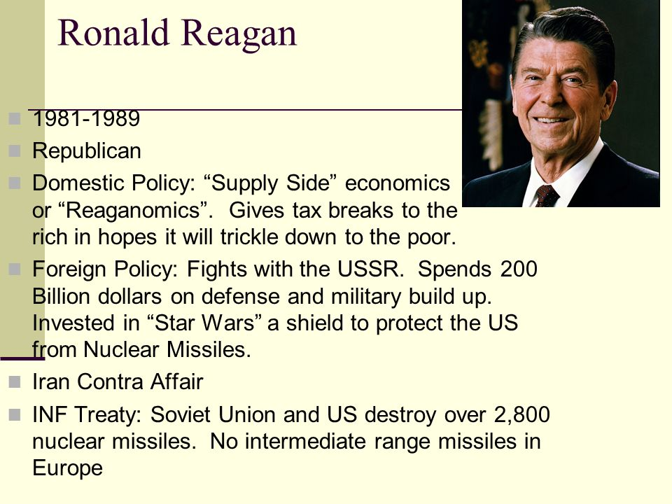 ronald reagan domestic policy essay Compare and contrast the domestic policies of jimmy carter (1977-1981) and ronald reagan (1981-1989) background after wwii the us had the strongest economy in the world.