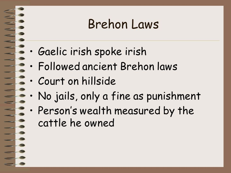 an introduction to the origins of the brehon laws Brehon laws essay examples 5 total results a history of brehon law 1,836 words 4 pages an introduction to the origins of the brehon laws 1,832 words 4 pages.