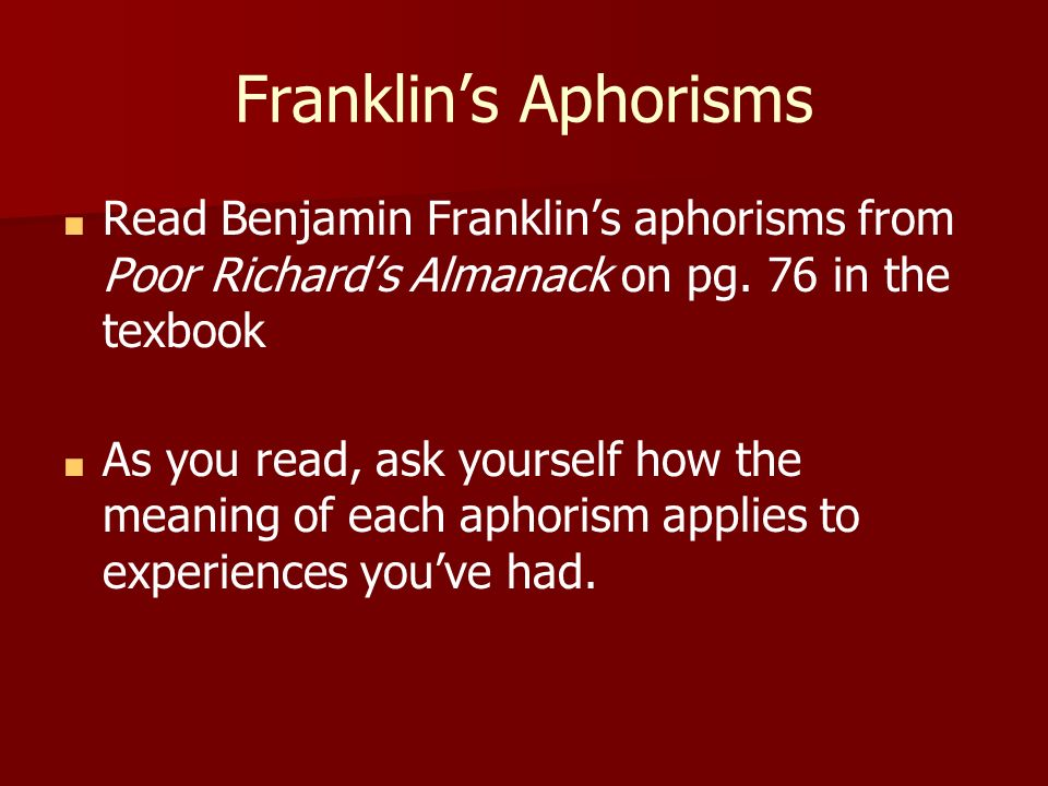 ben franklin aphorisms list
