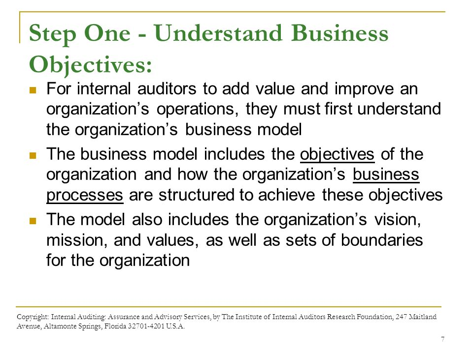 Business processes and risks ppt download 7 step one understand business objectives for internal auditors to add value fandeluxe Images