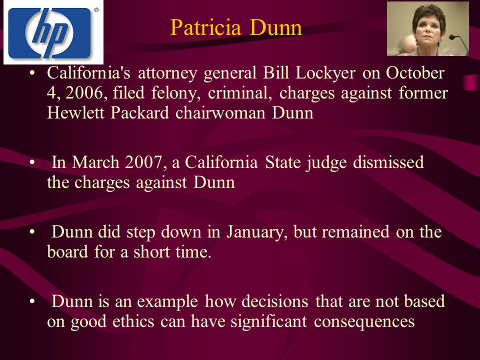 patricia dunn s unethical conduct An unethical approach like this   ethics training for all employees to establish what is and isn't ethical conduct clear  legal case follow-up patricia dunn.