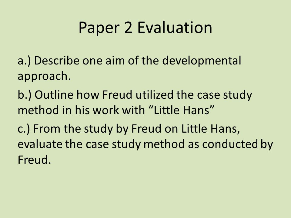 freud case study The case study section of our site is probably the most exciting because we see clearly how the psychoanalytic psychotherapy works and feel the urge to apply its methods.