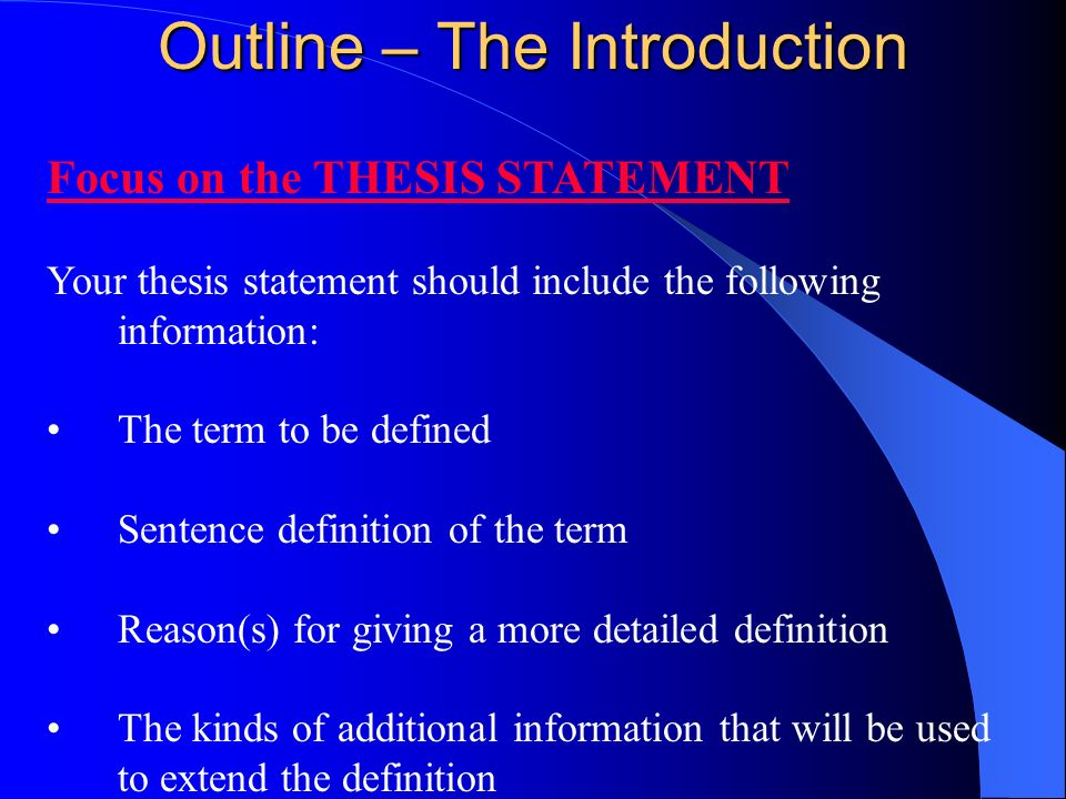 Extended definition thesis statement