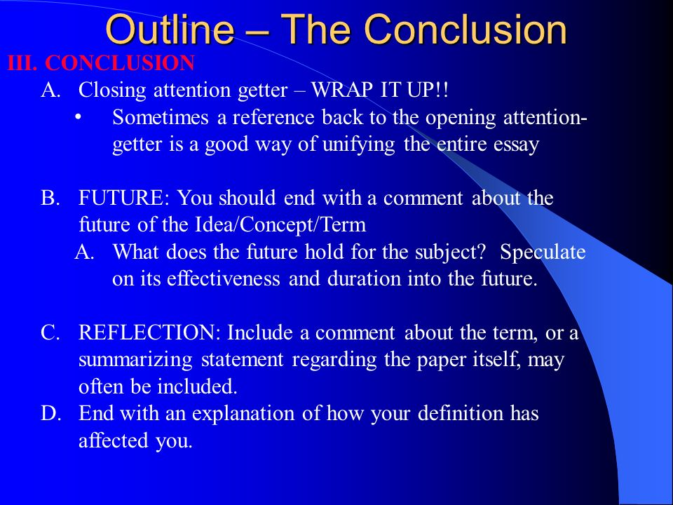 extended definition essay ppt  15 outline the conclusion