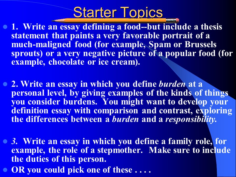 Extended Definition Essay  Ppt Download Starter Topics