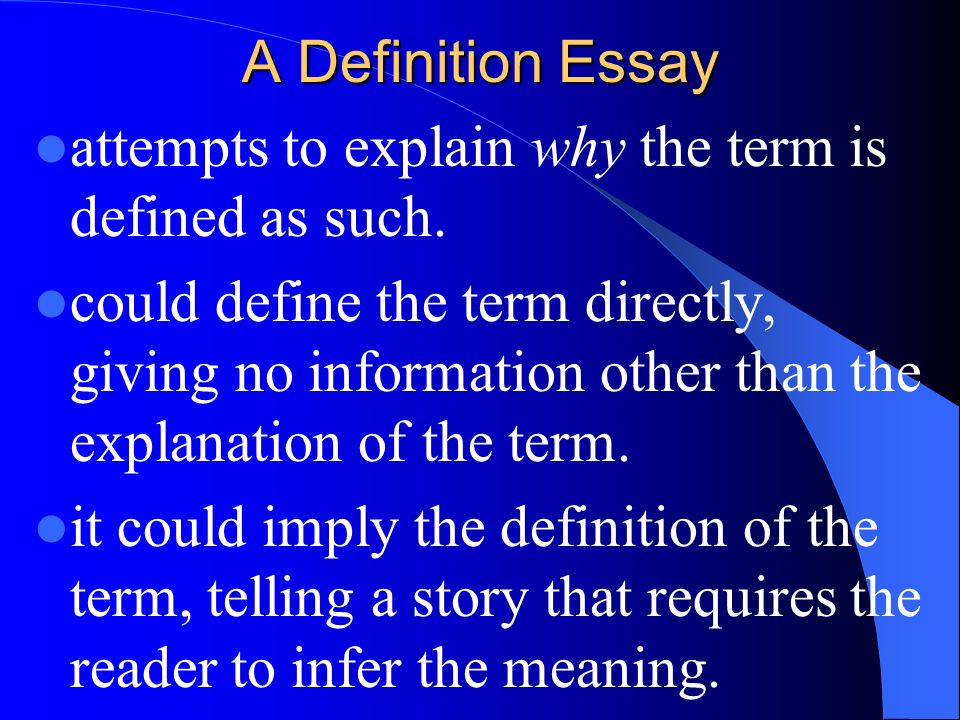 Extended Definition Essay. - ppt download