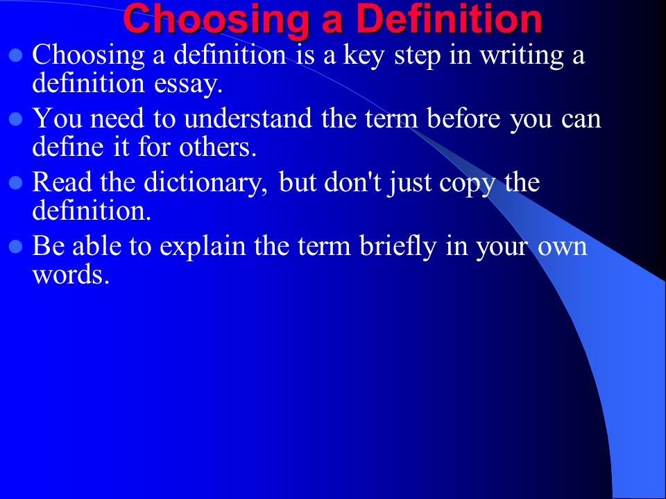 extended definition essay examples Definition, usage and a list of extended metaphor examples in common speech and literature extended metaphor refers to a comparison between two unlike things that.