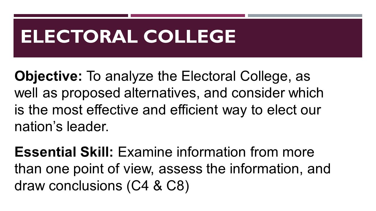 an introduction to the analysis of the electoral college Analysis of the electoral college essay many people argue that the electoral college is an outdated system after all, many things have changed in the last two.
