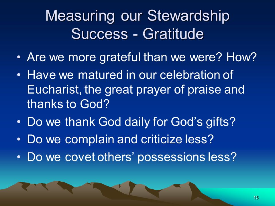 accountability and stewardship Parish accountability parish stewardship accountability report the parish has the responsibility to be accountable to its parishioners, who have entrusted their gifts from god to their parish one of the ways to do this is to provide an accountability report the purpose of the parish stewardship accountability report is to thank, inform and.