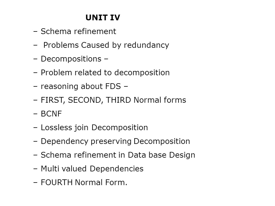 UNIT IV – Schema refinement. – Problems Caused by redundancy. – Decompositions – – Problem related to decomposition.
