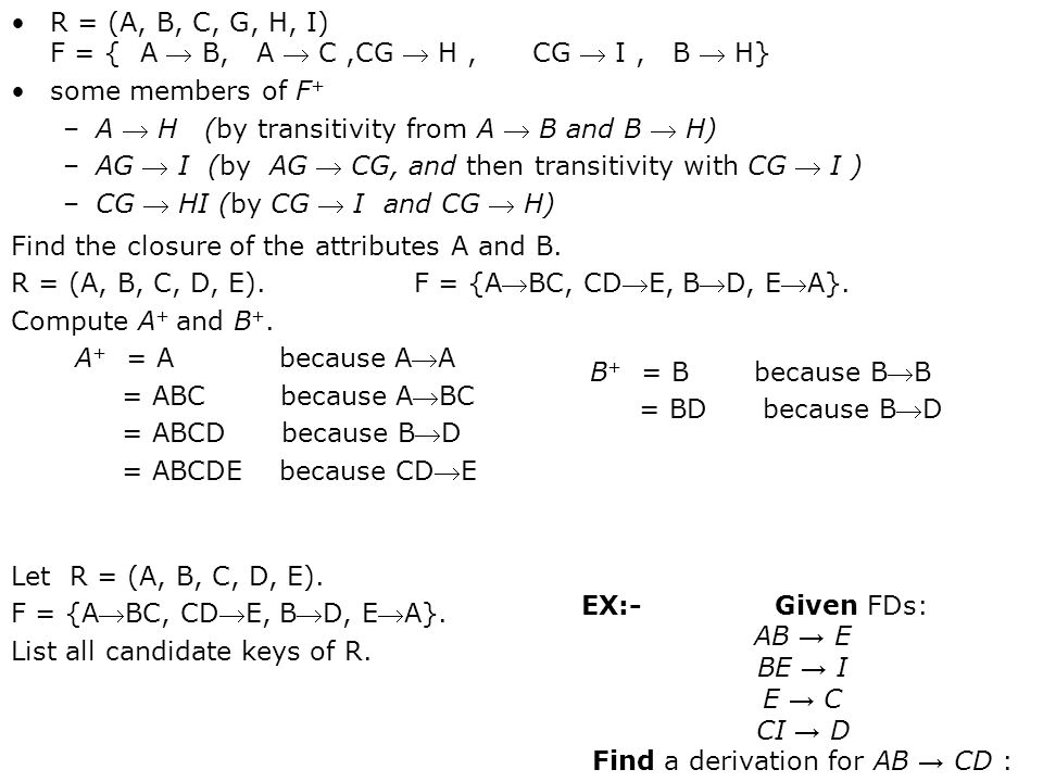 Find a derivation for AB → CD :