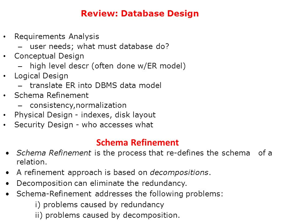 Review: Database Design