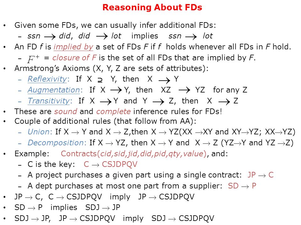Reasoning About FDs Given some FDs, we can usually infer additional FDs: ssn did, did lot implies ssn lot.