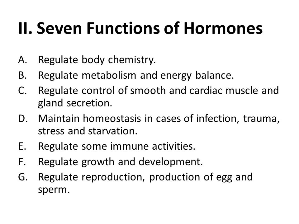 II. Seven Functions of Hormones