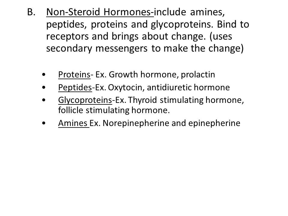 B. Non-Steroid Hormones-include amines, peptides, proteins and glycoproteins. Bind to receptors and brings about change. (uses secondary messengers to make the change)