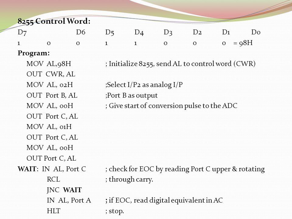 8255 Control Word: D7 D6 D5 D4 D3 D2 D1 D0 1 0 0 1 1 0 0 0 = 98H