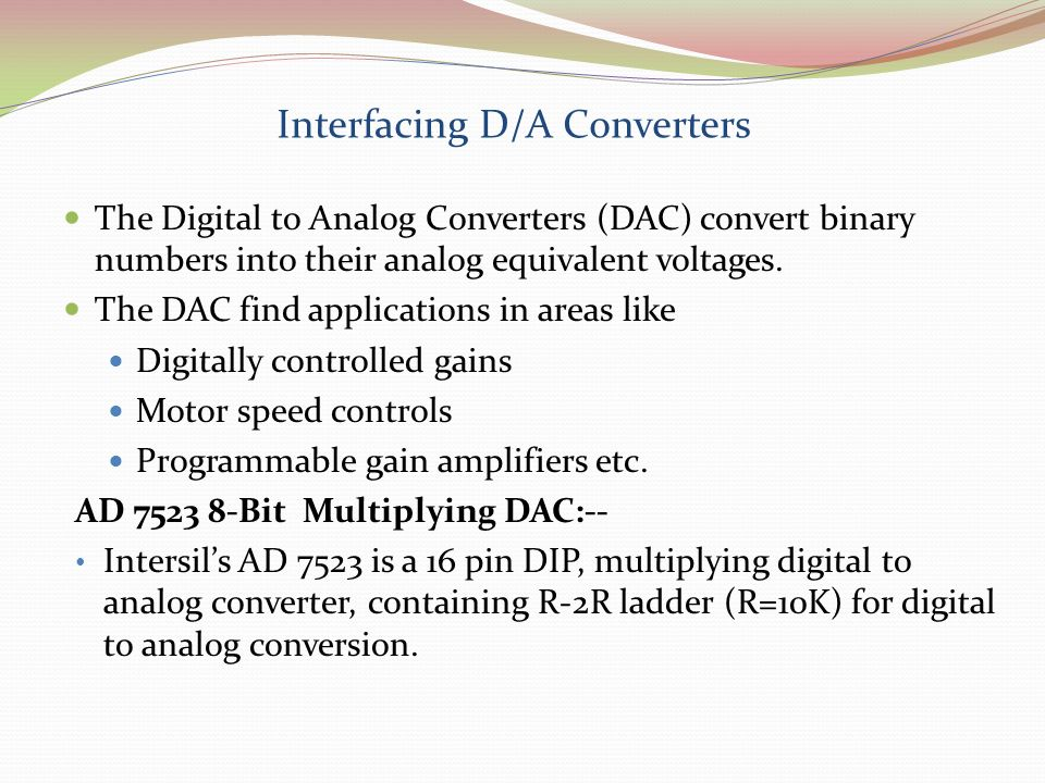 Interfacing D/A Converters