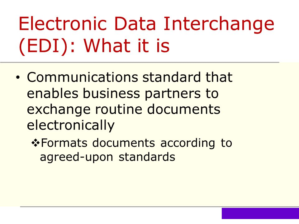 a report on electronic data interchange edi in business environment Electronic data interchange, our highly efficient, computer-to-computer  quick,  easy access to accurate and timely information in a paper-free environment  in  many areas of their business with edi documents provided by fedex freight.