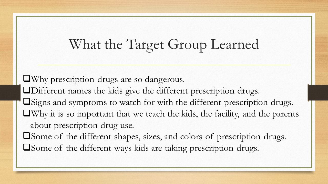 What the Target Group Learned