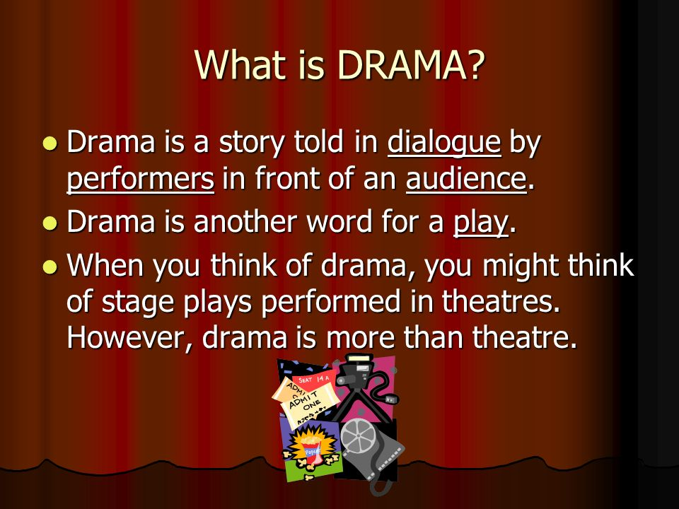 types of drama plays and essays Although drama is a process we encounter daily through tv, cinema, theatre etc it is not something the average person is consciously aware of, the fact that we are surrounded by it at all times may account for this passive attitude towards it, this type of performance drama (as found in television and theatre) while benefi.