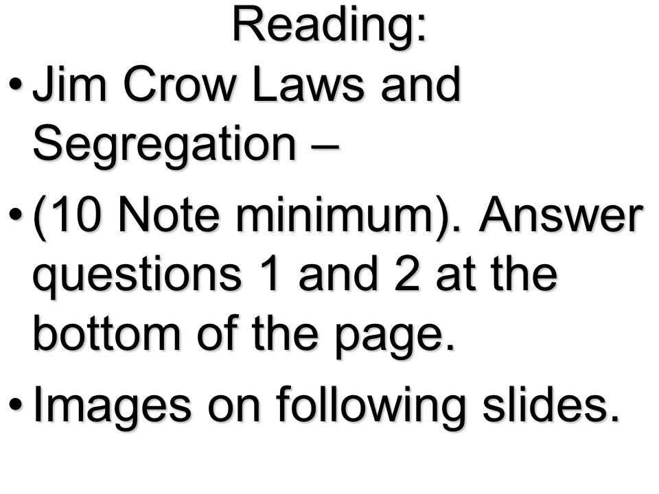 reconstruction and the jim crow laws essay