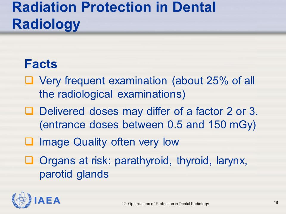 radiation protection in dentistry The purposes of this article are to review the definition of the dose, the concept of  the radiation protection, the measurement of the dose in dental radiography,.