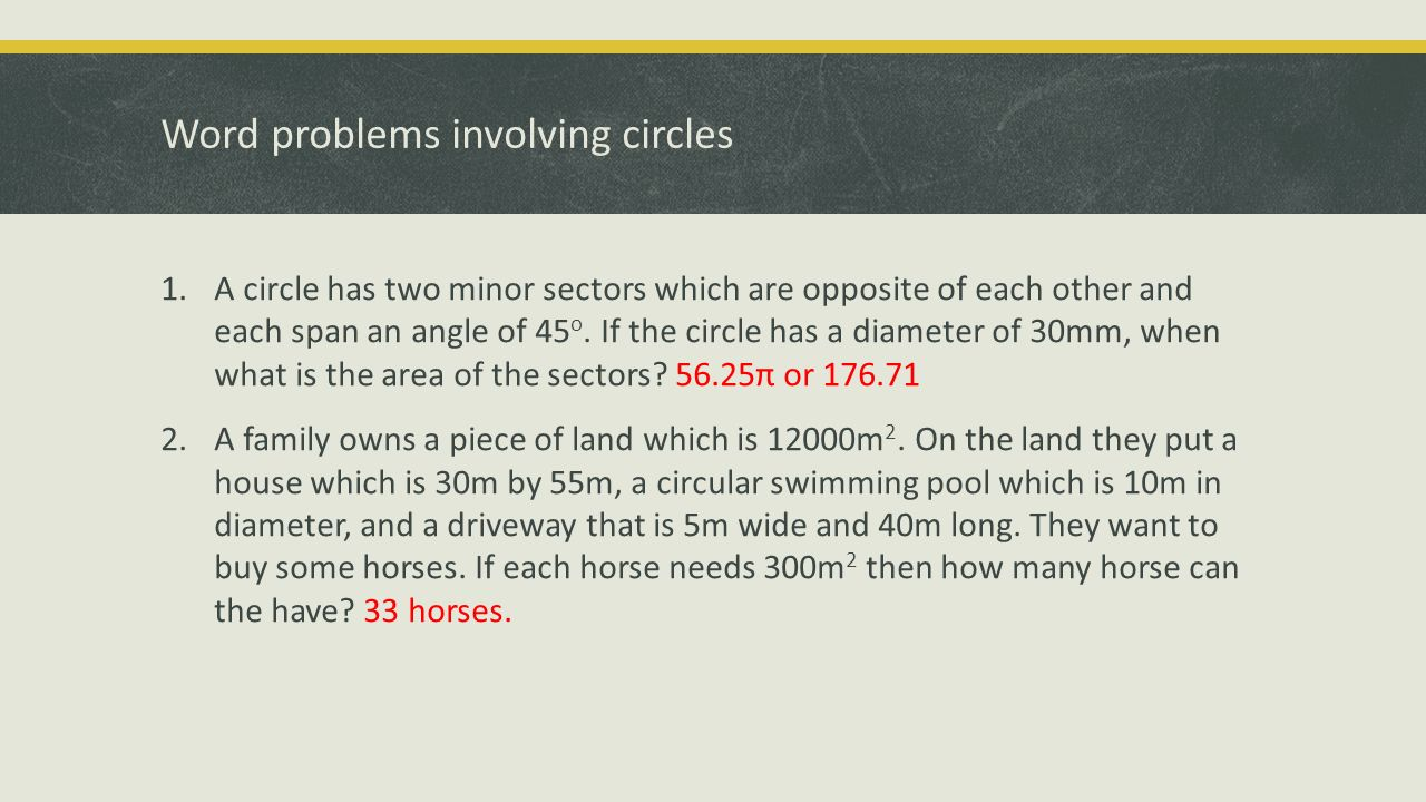 20 Word Problems Involving Circles