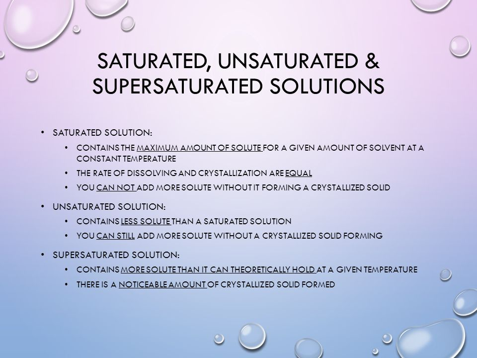 saturated unsaturated supersaturated