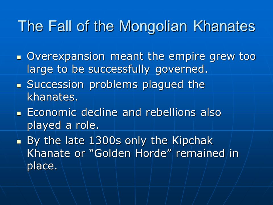 the fall of the mongolian empire The mongols were very tolerant of other religions so is not a reason to why it only lasted about 100 or so years one of the main reasons was black death the plague that wiped out millions in britain came from china the plague was carried by the trade routes that the mongols had set up and.