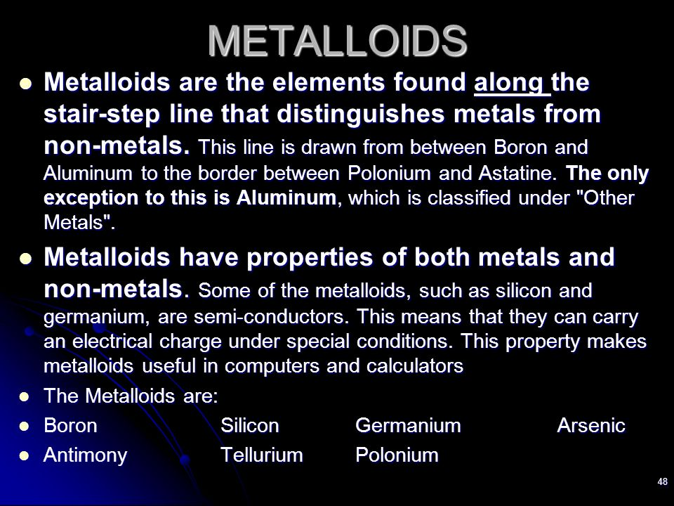 Metals Left Side Of Pt Nonmetals Right Side Of Pt