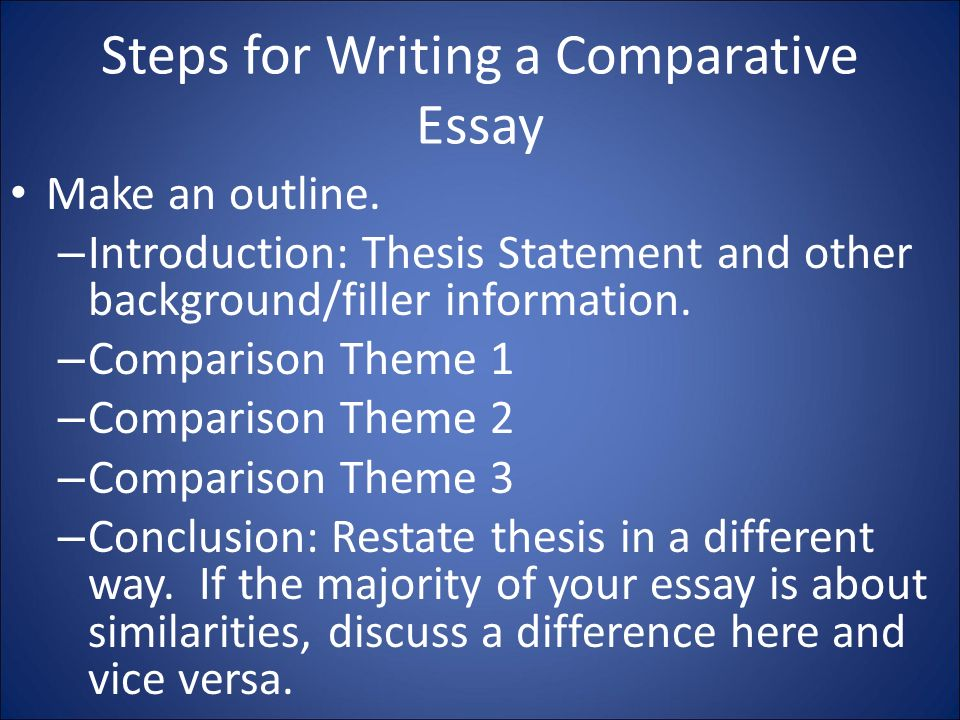 writing an introduction to a comparison essay Compare two things essay how to start an essay on comparing two things a comparison essay explores the similarities and differences that exist between two or more items, people, personalities, or places.