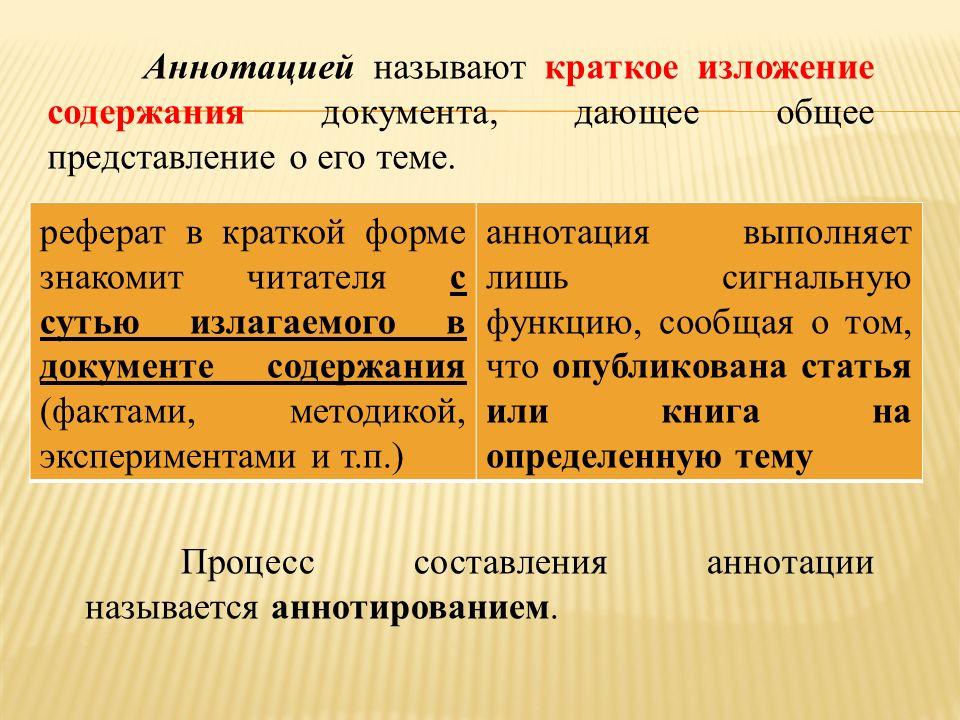АВТОМАТИЧЕСКОЕ ЧТЕНИЕ ТЕКСТА ppt  Аннотацией называют краткое изложение содержания документа дающее общее представление о его теме