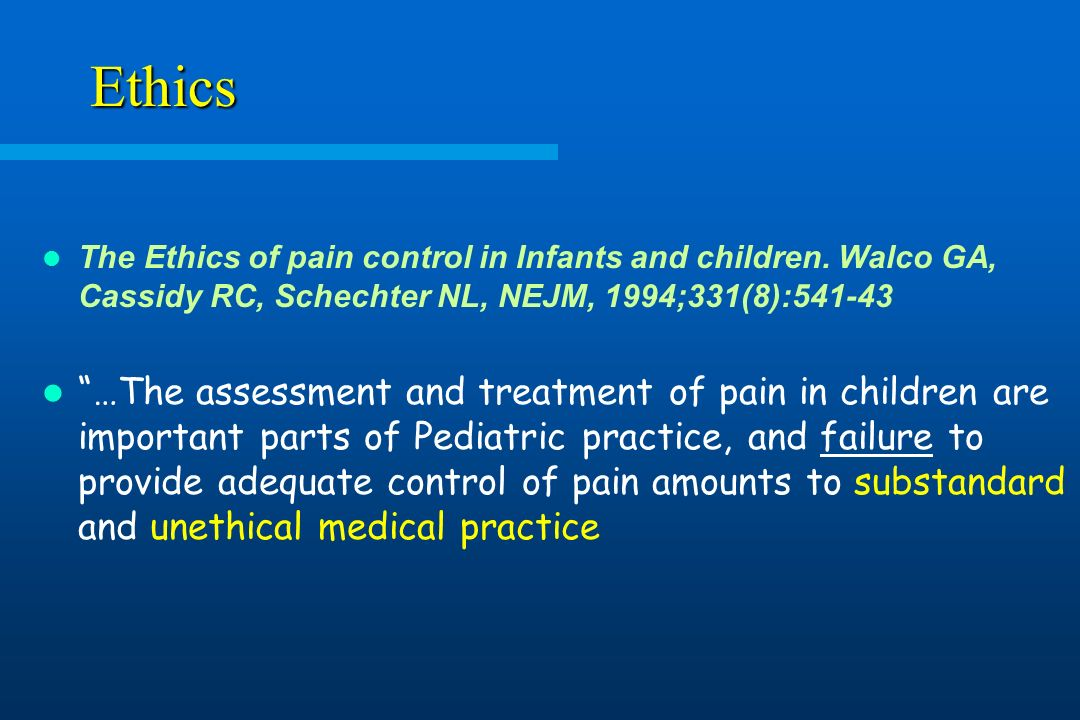 Ethics: Ethics and Pain Management in Hospitalized Patients