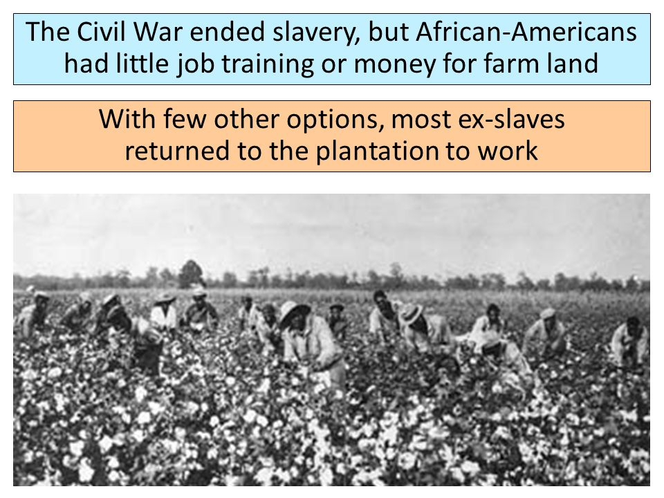 the situation for blacks after the end of the american civil war The south after reconstruction  and was intended to last for one year after the end of the civil war on march 3, 1865, congress passed the bill to aid former slaves through legal food and housing, oversight, education, health care, and employment contracts with private landowners  after the civil war, many african americans and former.