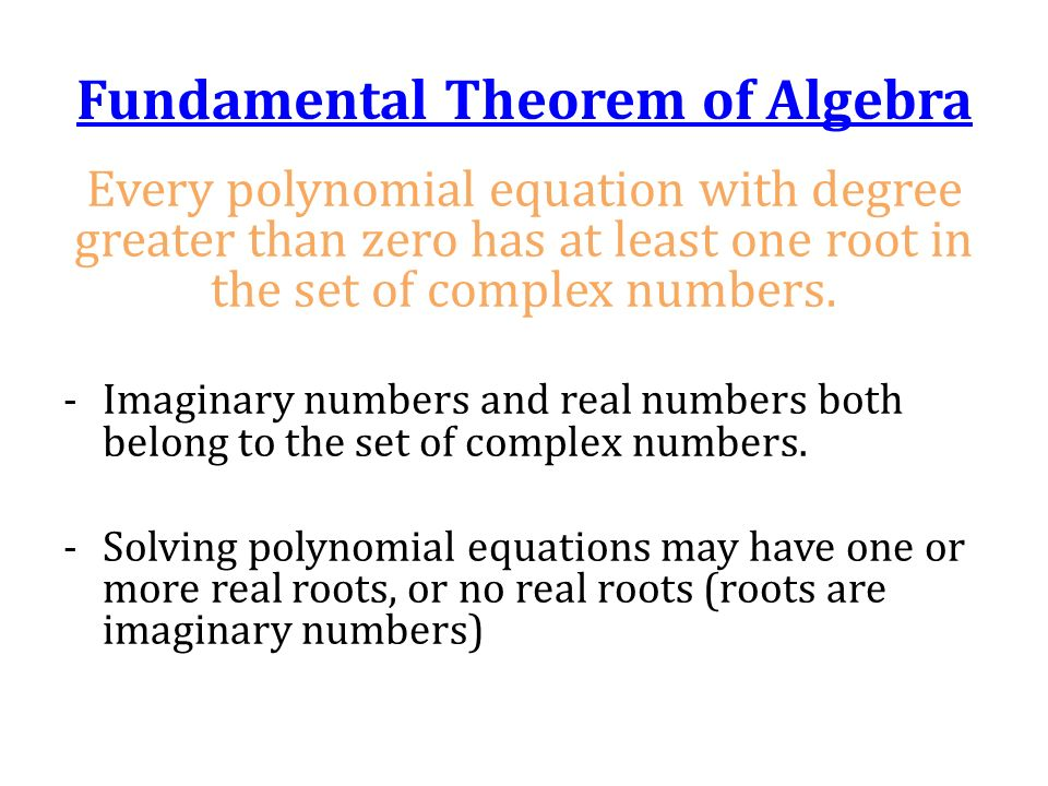 how to solve polynomial equations with complex numbers