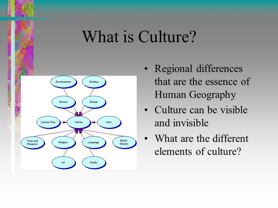 the geography of culture The study of the relationship between culture and place in broad terms, cultural geography examines the cultural values, practices, discursive and material.