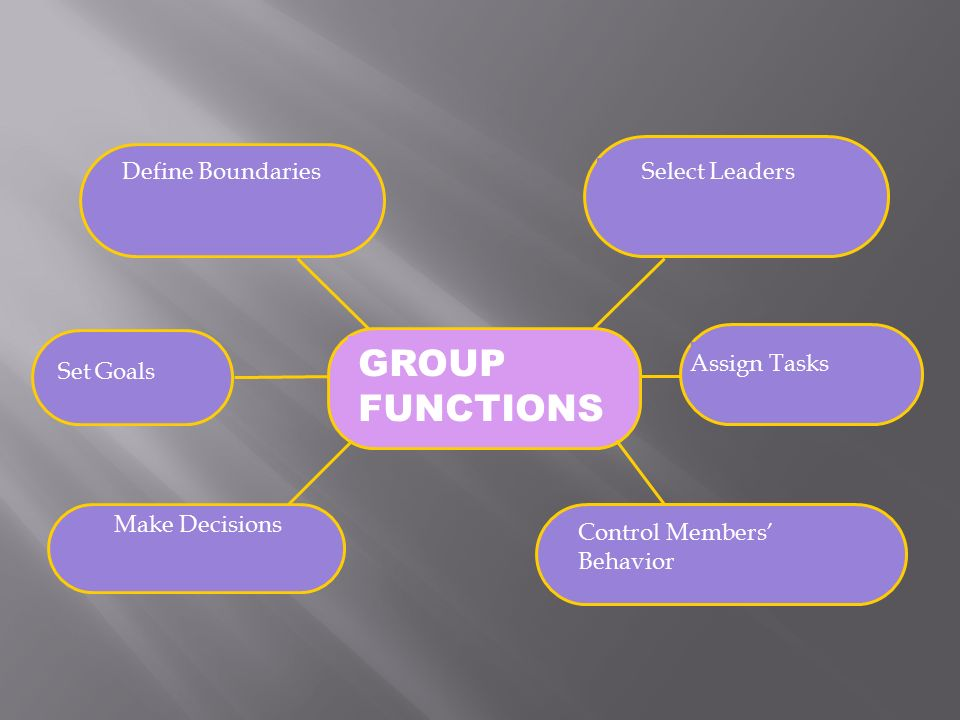 GROUP FUNCTIONS Define Boundaries Select Leaders Assign Tasks