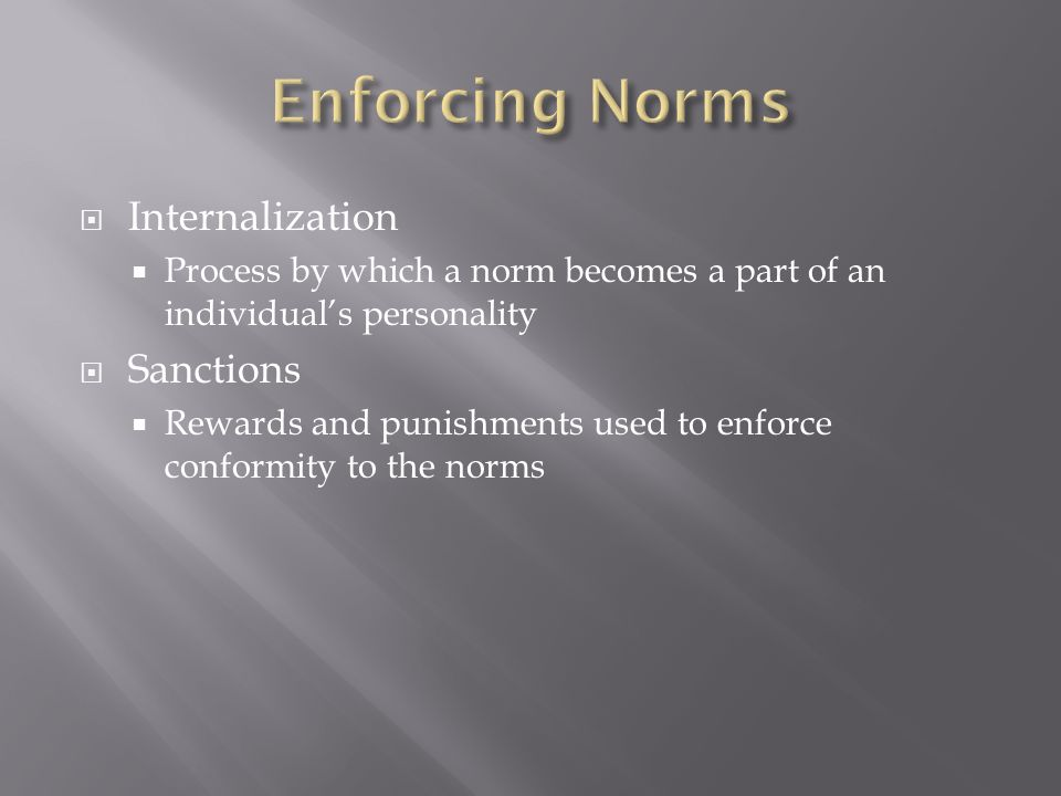 Enforcing Norms Internalization Sanctions