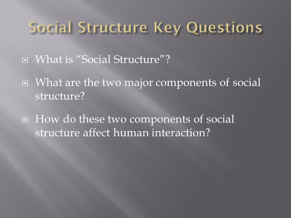 Social Structure Key Questions