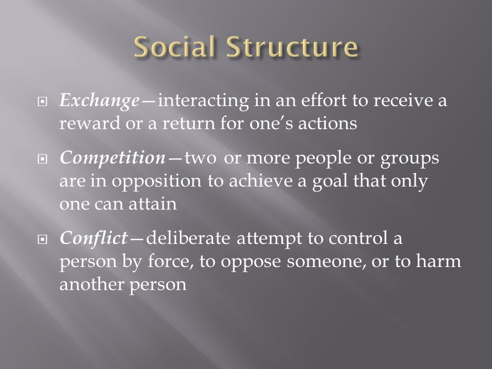 Social Structure Exchange—interacting in an effort to receive a reward or a return for one's actions.