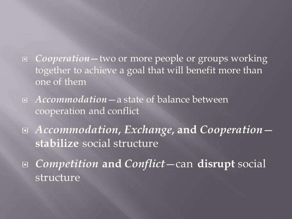 Accommodation, Exchange, and Cooperation—stabilize social structure