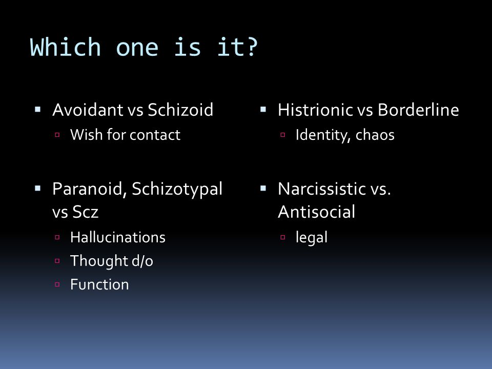 antisocial personality disorder vs schizoid personality Learn about avoidant personality disorder vs schizoid slide 1 of 5 introduction an estimated 91 percent of adults in the united states have a type of personality disorder, according to the national institute of mental health (nimh) personality disorders affect patients' behaviors, which can result in problems interacting with other people.