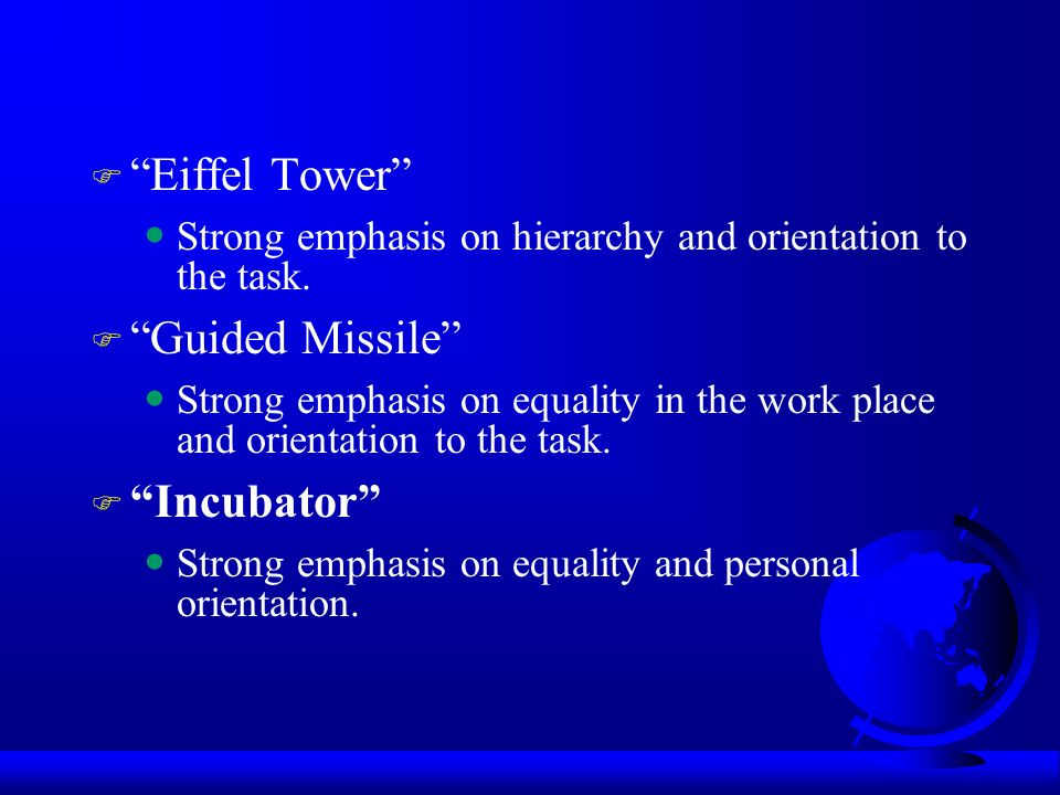 """eiffel tower corporate culture Organizational culture has a strong impact on organization and management,   or """"eiffel tower"""" culture functions through dependence on work structure and."""