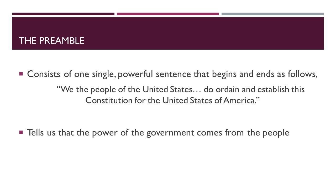 Tells us that the power of the government comes from the people